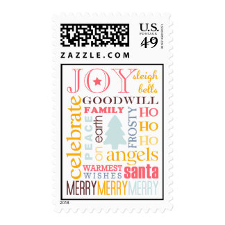 Holiday best colorful Christmas greeting stamps