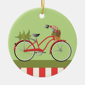 Holiday Bicycle Double-Sided Ceramic Round Christmas Ornament