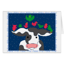 Holiday Bird Cow Card