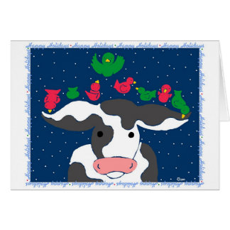 Holiday Bird Cow Greeting Cards