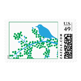 Holiday Bird with Berries Postage