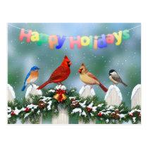 Holiday Birds & Christmas Garland Postcard