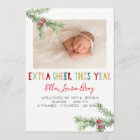 Holiday Birth Announcement - Extra Cheer This Year