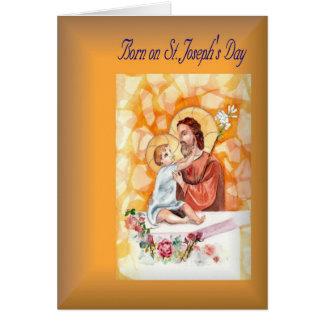Holiday Birthday born on St. Joseph's Day Greeting Cards