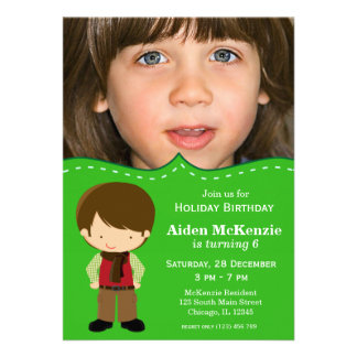 Holiday Birthday Personalized Announcements