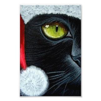 HOLIDAY BLACK CAT with SANTA HAT PRINT