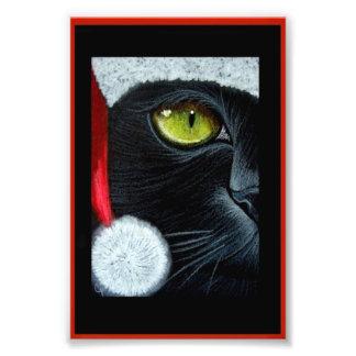 "HOLIDAY BLACK CAT with SANTA HAT PRINT 4"" X 6"""