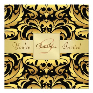 Holiday Black Tie Damask Gold Foil Invitation