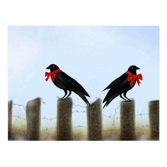 Holiday Blessing Crows Postcard