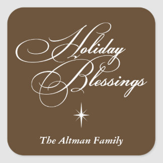 Holiday blessings bright star christmas gift tag square sticker