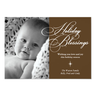Holiday blessings bright star christmas photo card