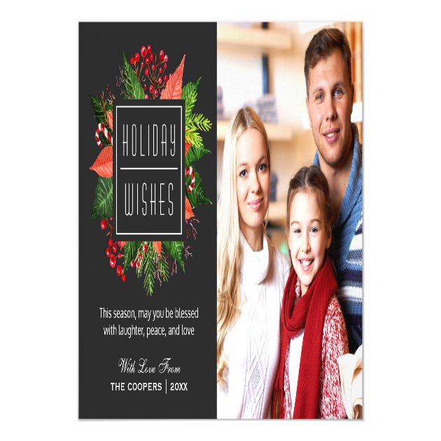 Holiday Blessings Holly Berries Christmas Photo Magnetic Card