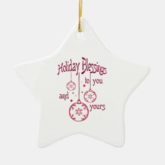 HOLIDAY BLESSINGS Double-Sided STAR CERAMIC CHRISTMAS ORNAMENT