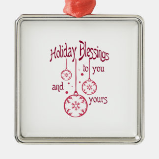 HOLIDAY BLESSINGS SQUARE METAL CHRISTMAS ORNAMENT