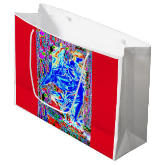HOLIDAY BLUE ANGEL (RED BACKROUND) JEWELED LARGE GIFT BAG
