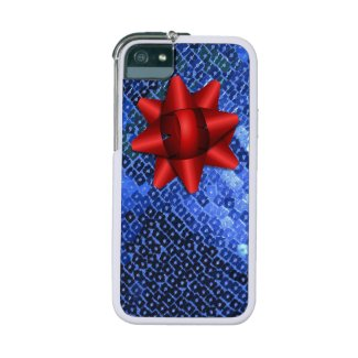 Holiday Blue Sequins iPhone Case with Red Bow