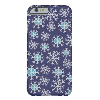 Holiday Blue Snowflakes Pattern Barely There iPhone 6 Case