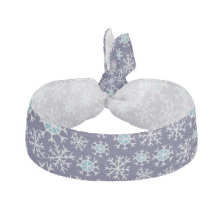 Holiday Blue Snowflakes Pattern Hair Tie