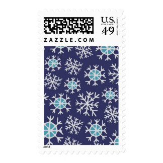 Holiday Blue Snowflakes Pattern Postage Stamps