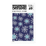 Holiday Blue Snowflakes Pattern Stamps
