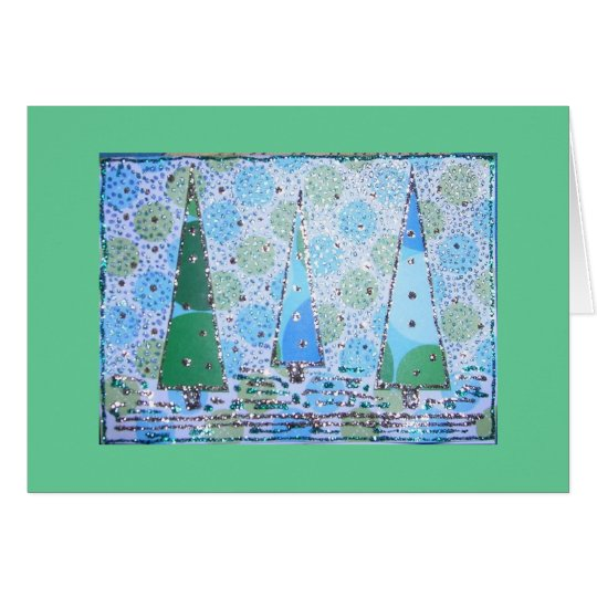 Holiday Blue Trees Collage Card