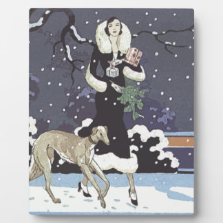 Holiday Borzoi Lady In Snow Plaque