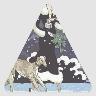 Holiday Borzoi Lady In Snow Triangle Sticker