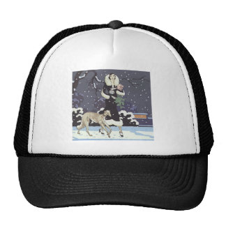 Holiday Borzoi Lady In Snow Trucker Hat