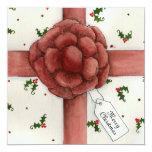 "Holiday Bow Christmas Invitation 5.25"" Square Invitation Card"
