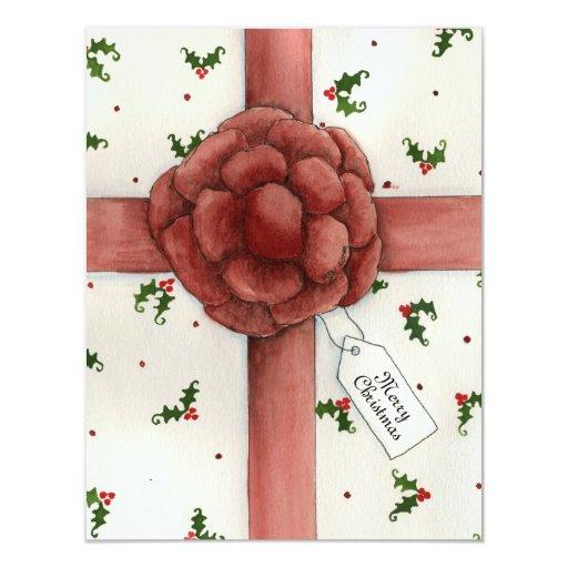 """Holiday Bow Christmas Invitation 4.25"""" X 5.5"""" Invitation Card"""
