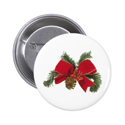 Holiday Bow Pinback Button