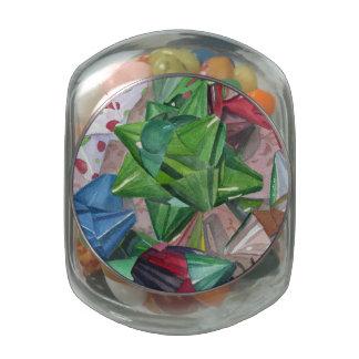 Holiday Bows Glass Jars