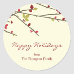 Holiday Branches Holiday Favor Stickers Stickers