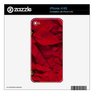 Holiday Bright Red Poinsettias iPhone 4S Skins