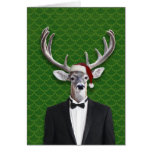 Holiday Buck In Santa Hat and Tuxedo Greeting Card