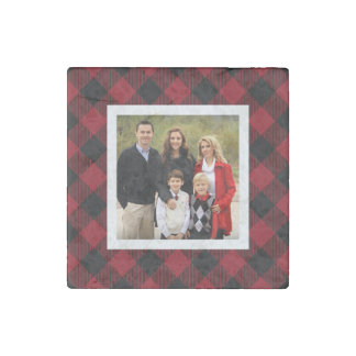 Holiday Buffalo Plaid Photo Stone Magnet