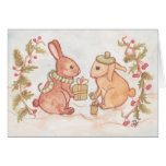 Holiday Bunnies Exchange Gifts Greeting Card
