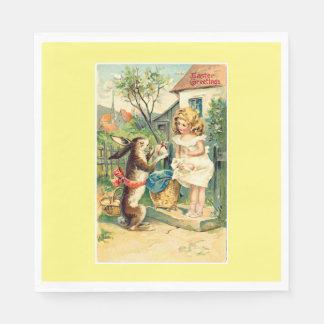 Holiday Bunny & Girl Vintage Easter Paper Napkins