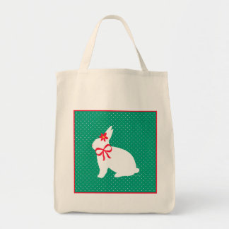 """Holiday Bunny"" Green Grocery Tote Grocery Tote Bag"