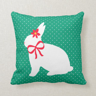"""Holiday Bunny"" Green Throw Pillow"