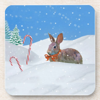 Holiday Bunny Rabbit and Candy Canes Coasters