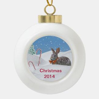 Holiday Bunny Rabbit in Snow, Customizable 2014 Ornaments