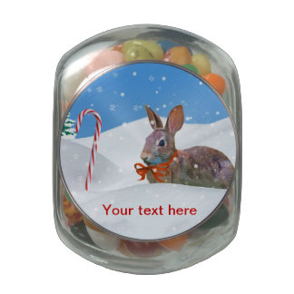 Holiday Bunny Rabbit in Snow Customizable Glass Candy Jars