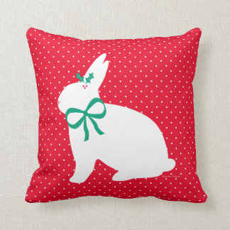 """""""Holiday Bunny"""" Red Throw Pillow"""