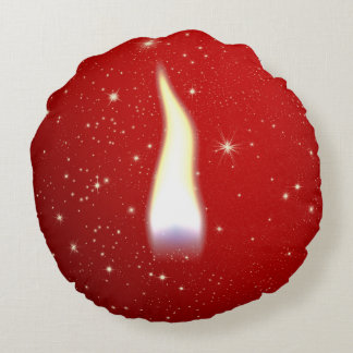 Holiday Candle Flame Round Pillow
