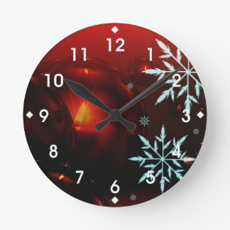 Holiday Candlelight and Snowflakes Round Clocks