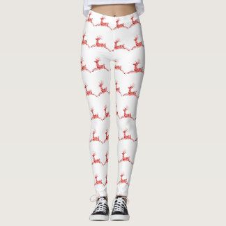 Holiday Candy Cane Reindeer on white Leggings