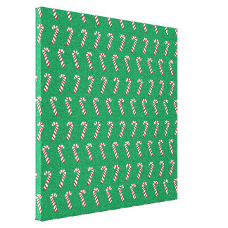 Holiday Candy Canes on Green Canvas Print