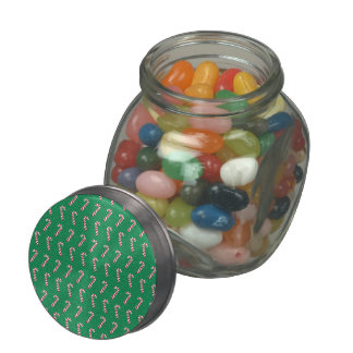 Holiday Candy Canes on Green Glass Candy Jar