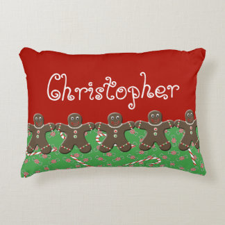 Holiday Candy Gingerbread Men Name Christopher Decorative Pillow